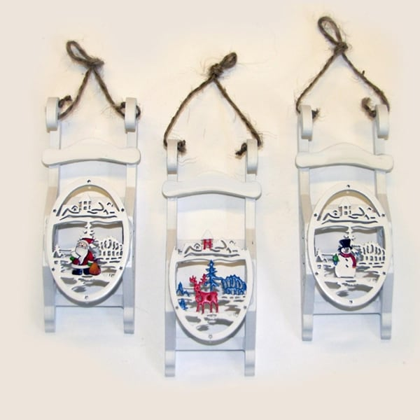 "4.5"" White Wooden Sled with Snowman Cut-Out Design Christmas Ornament"