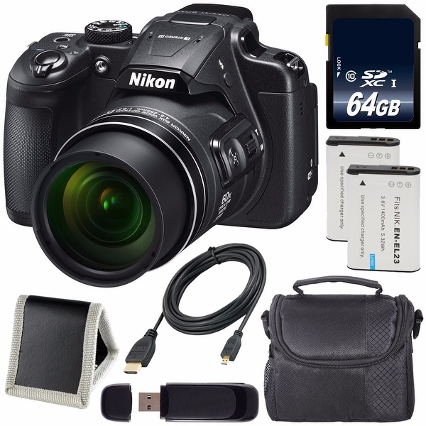 Nikon COOLPIX B700 Digital Camera (Certified Refurbished) + EN-EL23 Lithium Ion Battery + 64GB SDXC Card + Carrying Case Bundle