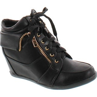 Forever Gladys-34 Women Fashion Leatherette Lace-Up High Top Wedge Sneaker Booties - gladys34_black