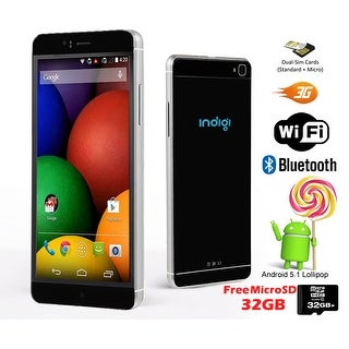 "Indigi® 3G Factory Unlocked 6"" DualSim SmartPhone Android 5.1 Lollipop w/ WiFi + Bluetooth Sync + 32gb microSD Included - Black"