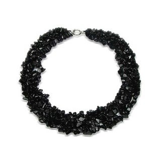 Bling Jewelry Imitation Onyx Chips Black Bib Gemstone Necklace Silver Plated