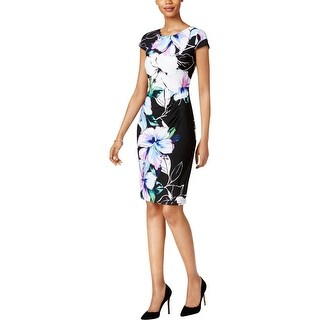 Connected Apparel Womens Wear to Work Dress Floral Print Stretch