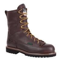 "Georgia Boot Men's G103 8"" Low Heel Logger Steel Toe Boot Chocolate Leather"