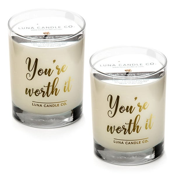 Eucalyptus Aromatherapy Scented Soy Glass Candle, Long Burn (2 Pack)