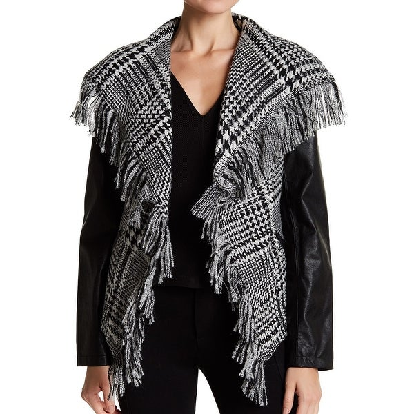 382f7e42d9 Guess Black Womens Large L Trim Glen Plaid Faux Leather Moto Jacket