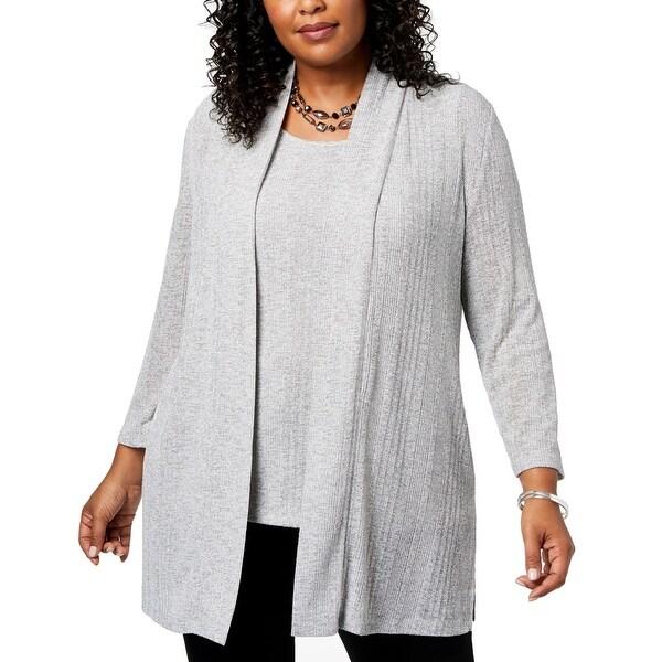 Kasper Womens Sweater Gray Size 1X Plus Cardigan Knit Open Front