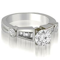 1.45 cttw. 14K White Gold Antique Style Round Baguette Diamond Engagement Ring