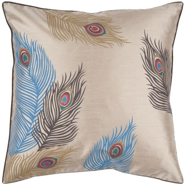 "18"" Khaki and Atlantic Blue Exotic Feather Decorative Throw Pillow"