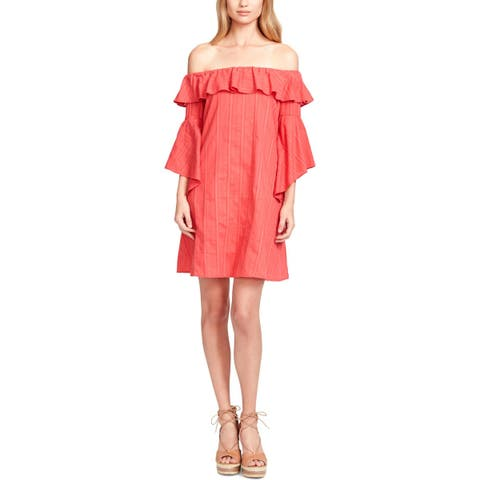 Jessica Simpson Womens Hanna Casual Dress Ruffled Off-The-Shoulder - S