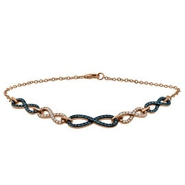 "0.93 Carat Blue Diamond With Diamond 7.5 "" Chain Bracelet Made in, 10k Rose Gold"
