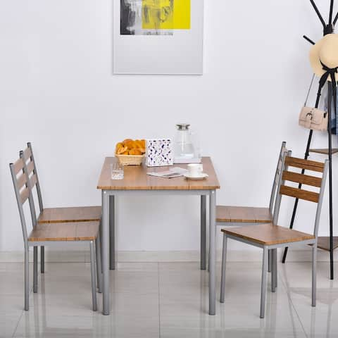 HOMCOM Modern 5-Piece Wooden Dining Kitchen table set 1 Table 4 Chairs Metal legs