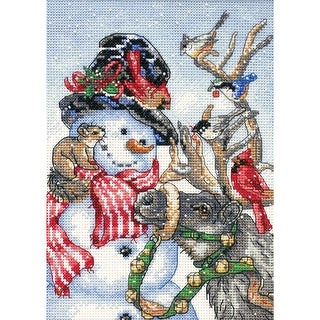 """Gold Petite Snowman & Reindeer Counted Cross Stitch Kit-5""""X7"""" 18 Count"""