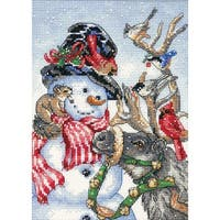 "Gold Petite Snowman & Reindeer Counted Cross Stitch Kit-5""X7"" 18 Count"