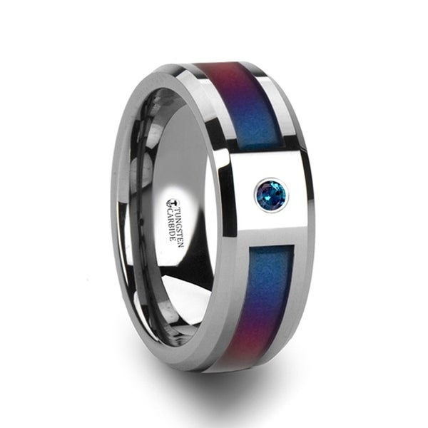 Cerulean Tungsten Carbide Ring With Bluepurple Color Changing Inlay And Alexandrite Setting