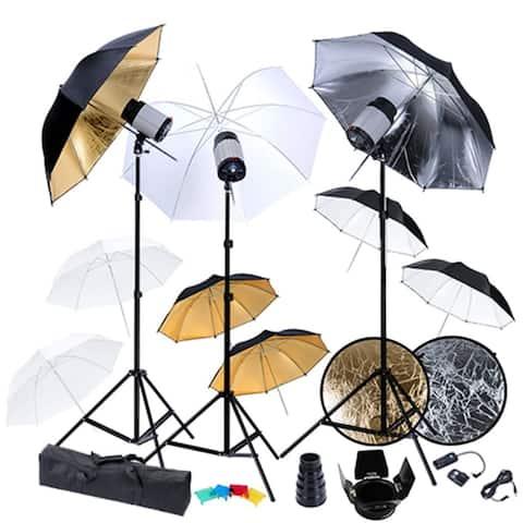 vidaXL Studio Set: 3 Flash Lights, 9 Umbrellas, Tripods, etc.