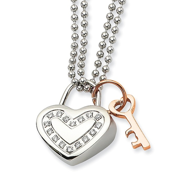 Chisel Stainless Steel Heart with CZs & Rose Gold Plated 22 Inch Necklace (2 mm) - 22 in