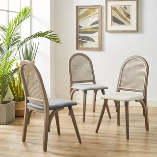 Art-Leon Rattan Linen Fabric Cane Dining Side Chair with Bamboo Frame