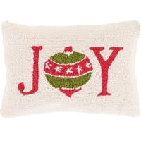 "13"" x 19"" Devil Red and Tree Green Decorative ""Joy"" Holiday Throw Pillow - brown"