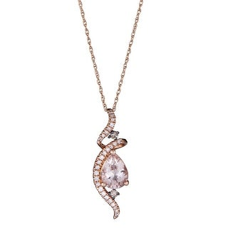 Link to 10K Rose Gold Morganite & Diamond Pendant by Anika And August - White Similar Items in Necklaces