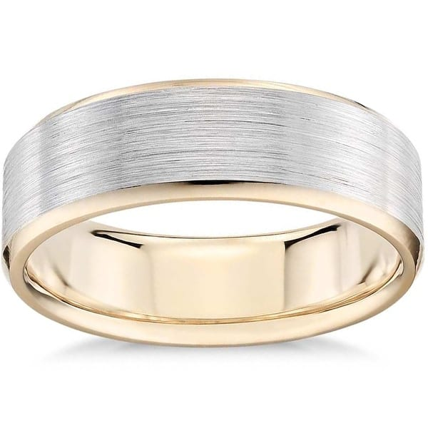Silver and Gold 7mm Mens Womens Two-Tone .925 Sterling Silver /& 10K Yellow Solid Gold Wedding Band Fashion Ring