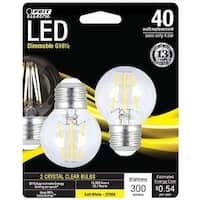 Feit Electric BPGM40827LED2 Dimmable LED Light Bulb, 2700 K, 4.5 W, 300 Lumens