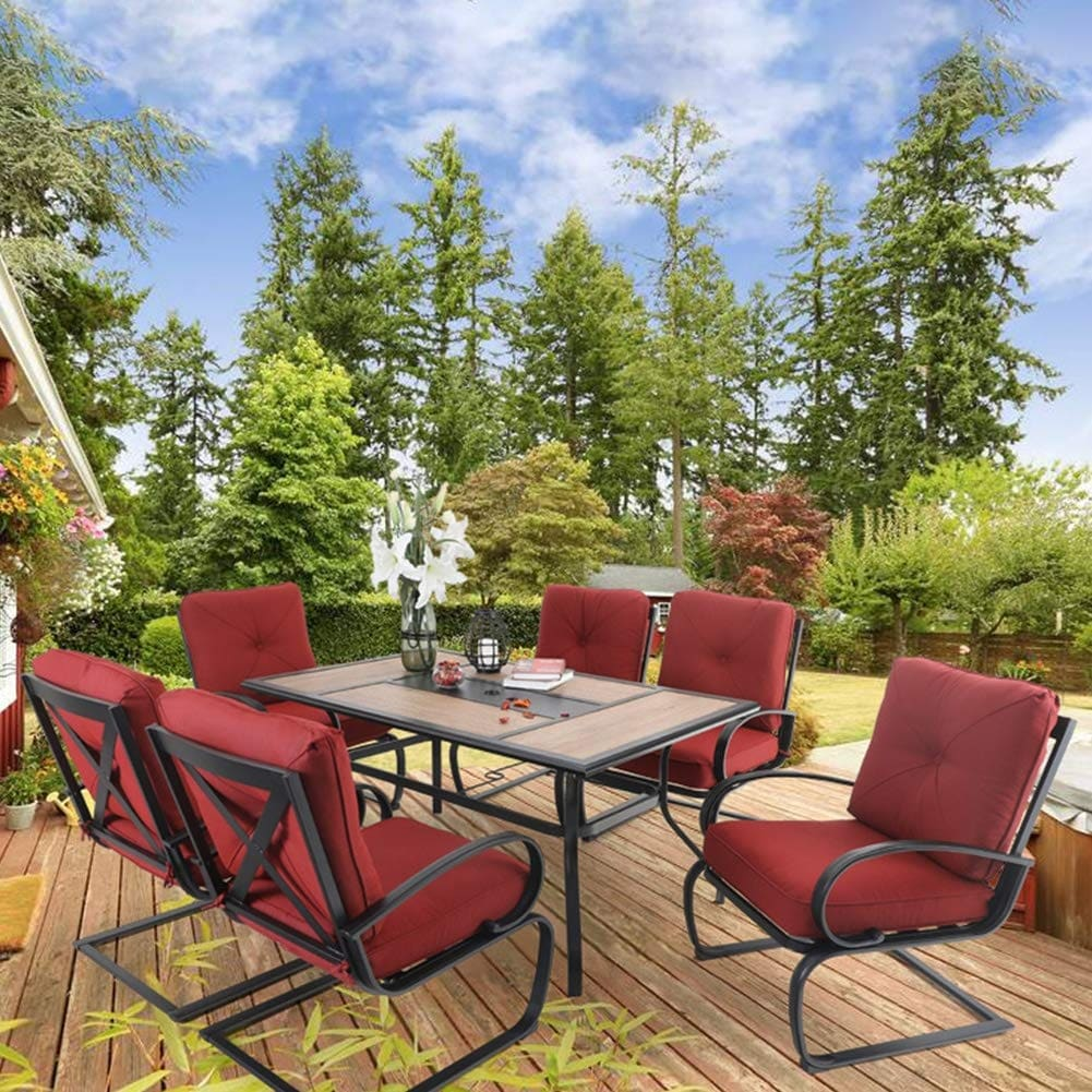 6 Piece Cushioned Spring Motion Dining Chair with Armrest /& 1 Large Rectangle Patio Dining Table with 1.57 Umbrella Hole Beige PHI VILLA 7 pcs Patio Dining Set for Patio Garden Backyard
