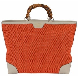 Gucci 338964 Large Orange Straw Leather Bamboo Handle Purse Tote Shopper