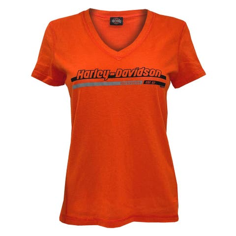 Harley-Davidson Women's Iron Chain Short Sleeve V-Neck Tee - Bright Orange