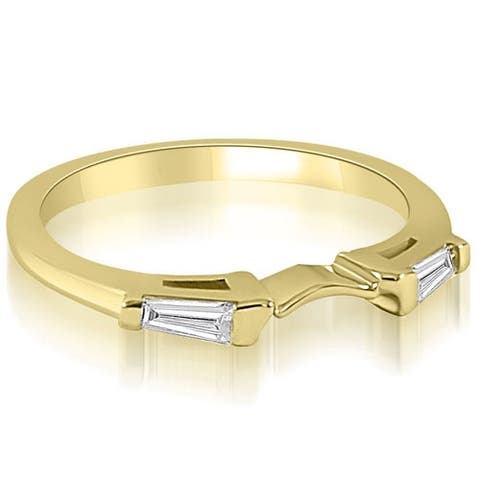 0.15 cttw. 14K Yellow Gold Curve Bar Set Baguette Diamond Wedding Ring