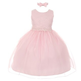 Rain Kids Little Girls Pink Floral Trim Organza Overlay Flower Girl Dress