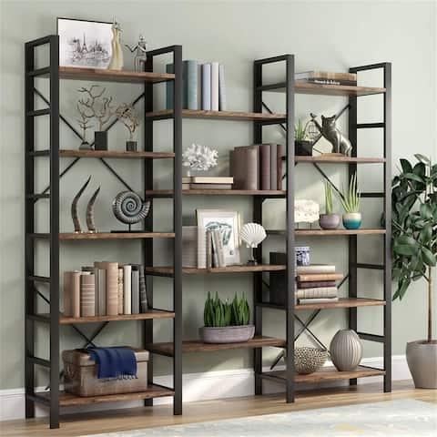 Triple Wide 5-Shelf Bookcase,Bookshelf Shelve Wood and Metal Furniture