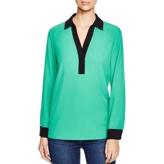 Calvin Klein Womens Blouse Contrast Trim Collar