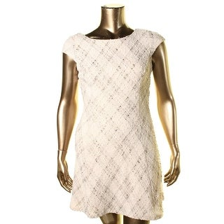 Teeze Me Womens Juniors Shimmer Cap Sleeves Cocktail Dress
