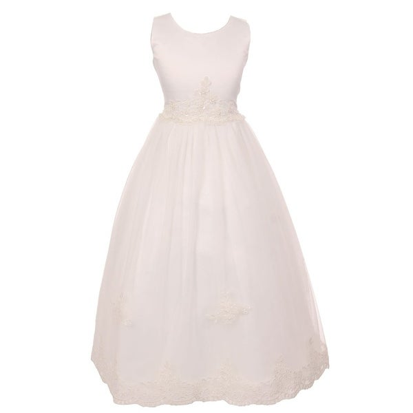 babc9816e Shop Chic Baby Girls Ivory Floral Lace Soft Tulle Flower Girl Dress 8-14 -  Free Shipping On Orders Over $45 - Overstock - 18167700