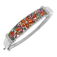 5 1/2 ct Enhanced Rainbow Topaz Bangle Bracelet in Sterling Silver