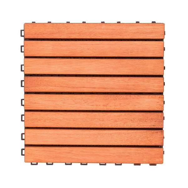 """Set of 10 Brown Natural Finish 8-Horizontal Slat Interlocking Deck Tiles 11"""" - N/A"""