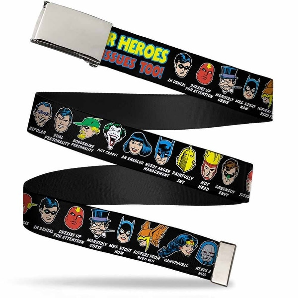 """Blank Chrome 1.25"""" Buckle Dc Originals Super Heroes Have Issues Too! Faces Web Belt 1.25"""" Wide - M"""