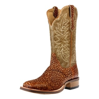 Cinch Western Boots Mens Edge Bostrich Square Pull Tabs Tan CEM153