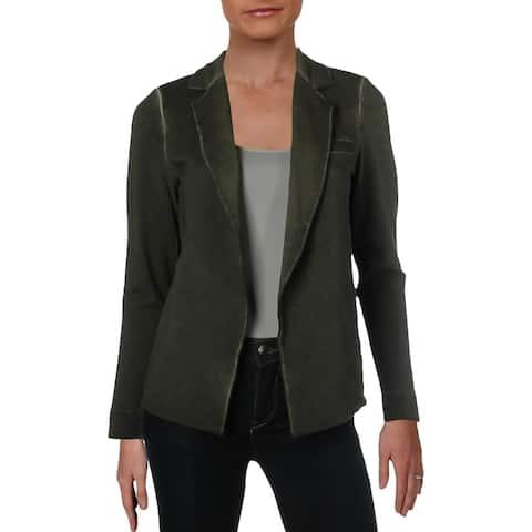 Nic + Zoe Womens Garment Dye Knit Blazer Open Front Business