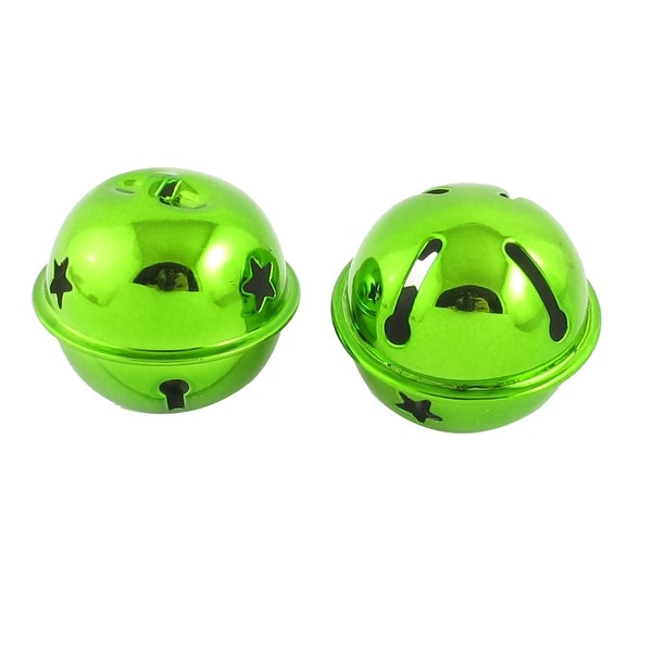 Unique Bargains 2 Pcs Hollow Out Star Design 40mm Dia Ring Bell Decoration Green for Xmas Tree