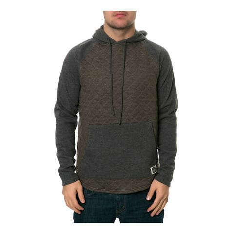 AMBIG Mens The Cy 2 Tone Quilted Hoodie Sweatshirt, Green, Small