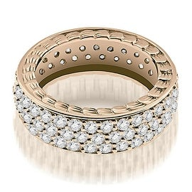 1.17 cttw. 14K Rose Gold Three Row Vintage Style Round Diamond Eternity Ring