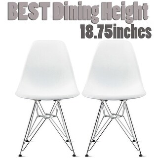 2xhome Set of 2 White Molded Shell Designer Side Plastic Eiffel Chairs Chrome Metal Dining Room Living Conference DSW Kitchen