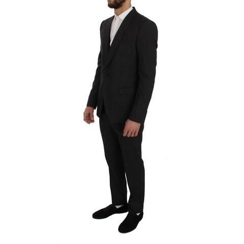 Dolce & Gabbana Gray Wool Silk Stretch Slim Fit 3 Piece Men's Suit