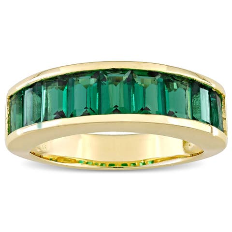 Miadora Yellow Plated Sterling Silver Baguette-cut Created Emerald Semi-Eternity Anniversary Band Ring