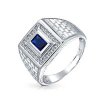 .925 Silver Brick Pattern Imitation Sapphire Rectangle Blue CZ Mens Engagement Ring For Women
