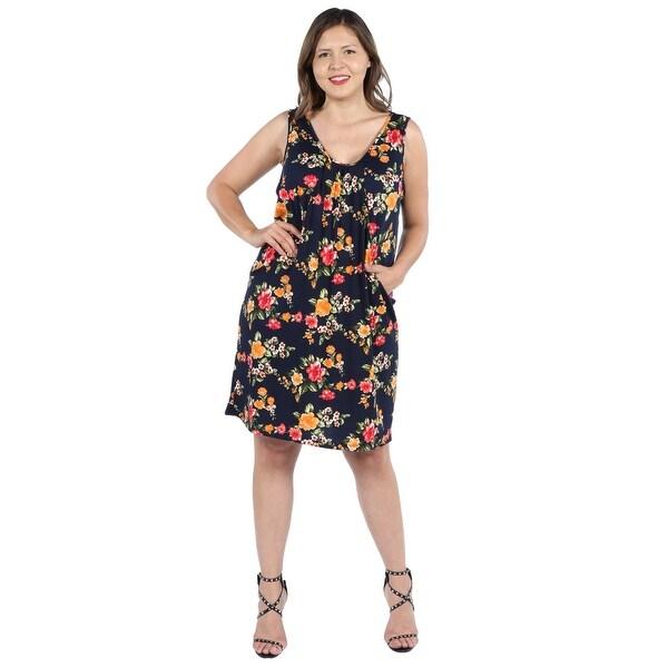 38b3d692ca97b Shop 24Seven Comfort Apparel Bryn Black Floral Plus Size Mini Dress ...