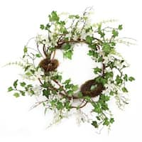 "Pack of 2 White Flowers and Green Leafs Artificial Dogwood with Nests Decorative Wreaths 22""-Unlit"