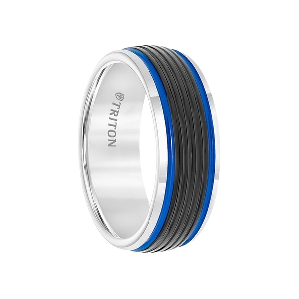 Black & White Tungsten Ribbed Pattern Men's Wedding Ring with Blue Stripes Dual Grooves by Triton Rings - 8mm