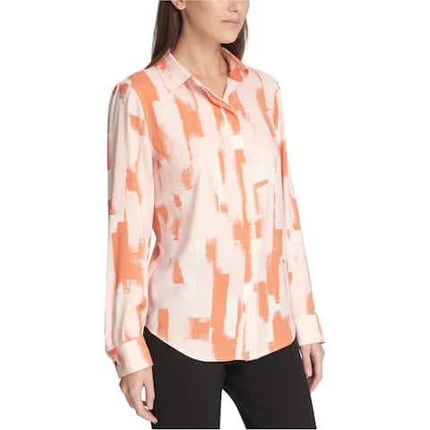 DKNY Womens Printed Button Up Shirt, Orange, X-Large